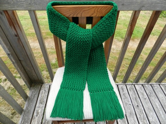 Knitting Loom Scarf Fringe : Winter Scarf Knit Scarf Green Scarf Kelly by yarnworksandmore