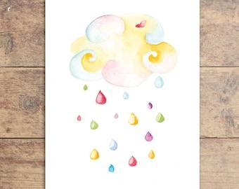 Rain Cloud Baby Art - Rain Cloud Nursery Art - Children's Art Print - Colored Rain Cloud - Watercolor Nursery Print
