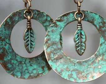 Turquoise Earrings Boho Earrings Bohemian Earrings Dangle hoop Patina Hammered Leaf earrings Southwest Native American Inspired Jewelry