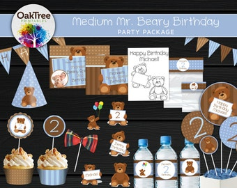 Medium Mr. Beary Birthday Party Package Set - Printable - DIY - Invitation Included - 15 Items