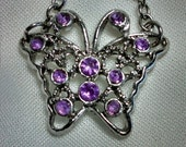 Butterfly Antique Silver Tone Purple Rhinestone Choker