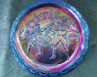 Indiana Blue Carnival Glass Plate Spirit of 76 Vintage 1976, bicentennial collectors plate