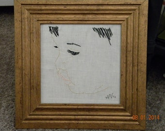 """SALE ! ! Hand embroidered small child's face- framed 14""""x14"""" *** SALE"""