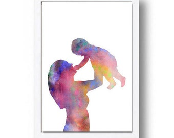 Watercolor Print Mother And Child Illustration Watercolor Painting Art Print Home Decor