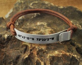 Latitude Longitude Bracelet, custom stamped GPS Rope Bracelet, Coordinates Engraved Bracelet, Personalized Bracelet,Christmas Gift
