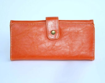Women's Orange Leather Wallet, Women's Orange Leather Purse, Leather Wallet, Leather Purse, Orange wallet, Womens wallet