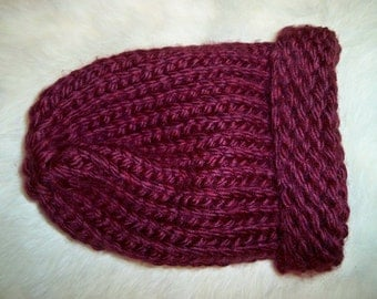 Slouchy Beanie Napa Valley Pinot Color Chunky Acrylic Knit Hat for Baby Handmade