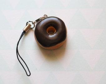Chocolate Doughnut Phone Charm,  Food Jewelry, Polymer Clay Food