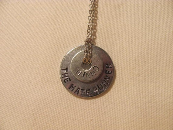 the maze runner hand stamped washer necklace on chain