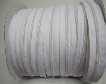 Zipper by the yard #5 White 10 yards + 20 sliders