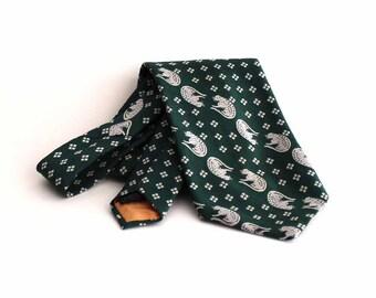 mens vintage leopard tie - 1970s necktie leopard pattern tie in green and gray / silver