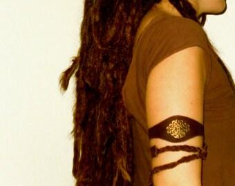 leather maya native tribe headband tiara circlet upper arm bracelet armlet