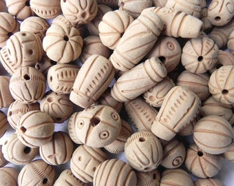 SUPPLIES-beads -100 Pcs Natural TERACOTTA/ CLAY  Beads handmadecolor them as per your choice