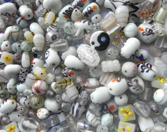 1 Pound White LAMPWORK BEADS handmade BEAUTIFUL mostly normal size assorted mix..
