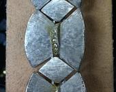 Vintage ART 1960's UNUSUAL Silver tone and Rhinestone Link Bracelet