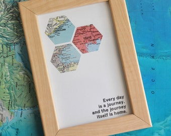 Gift for Traveler Map Art Custom Framed Geometric Hexagon Recycled Maps