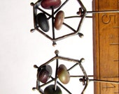 Heptagon - Polygon - Sterling Silver Earrings - Beach Stones - Copper - Silversmith - RMD Designs