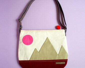 Fabric Crossbody Zip Sling Bag With Zip Pocket, Mountain Friends Crossbody Sling Purse, Vegan Sling Bag With Zip - STORMY Mountains Color
