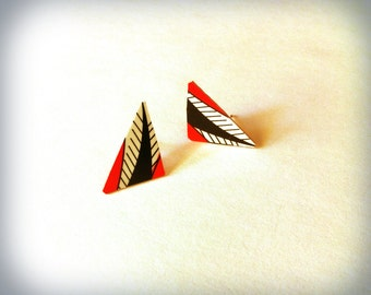 Triangle Spiky Tail- Repurposed Hwatu Card Post Stud  Earring