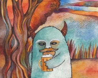 Ale Monster Giclee print by Megan Noel