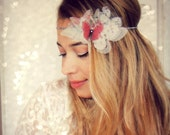 Organza Butterflies Headband with rhinestones in Red Pink and White tones