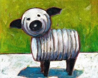 Fisher Price Little People Sheep. 8 x 10 inch Hand-Touched Print