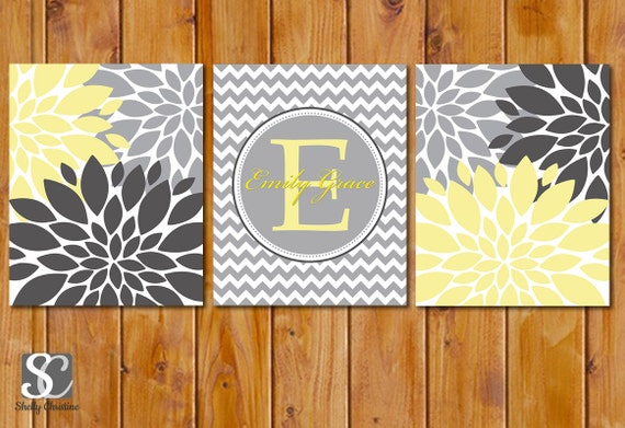 Items Similar To Floral Flower Burst Yellow Grey Nursery Wall Decor Chevron M