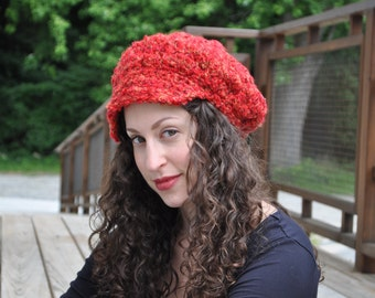 Red  Newsboy Cap - Crocheted Hat - Newsboy hat - Women's Accessories - Red Brimmed Hat - Christmas Hat