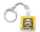 Golden Doodle Love Silver Key Ring