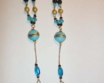 Turquoise Beaded Barefoot Sandals Beach Wedding Dance Foot Jewelry-Size 7.5-8