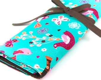 Large Knitting Needle Case Organizer - Mod Oasis - 30 Brown Pockets for All Sizes