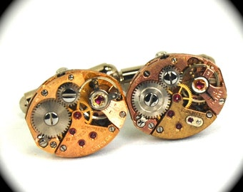 Steampunk Cufflinks ROSE GOLD Clockworks with Ruby Jewels Perfectly Matched Petite Ovals - FEATURED in Mono Magazine