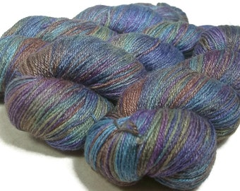 Handpainted Fingering Yarn -  Bamboo Bliss - 100 gm CALYPSO -  Merino Wool Bamboo Nylon Sock Yarn - Lot #150715
