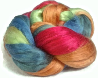 Handpainted Milk Silk Roving - 2 oz. HARLEQUIN - Spinning Fiber