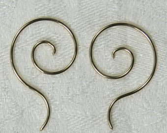 18 gauge,14k gold fill, Spiral Drop earrings, 3's, one pair. free shipping