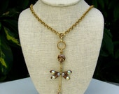 Dragonfly Necklace Topaz Brown  New and Vintage Crystal