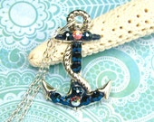 Nautical Anchor Necklace with Crystals