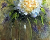 Hydrangea in vase oil painting ACEO print of original oil painting