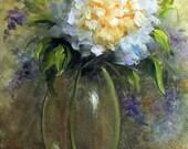 Hortensien in Vase Ölgemälde ACEO Print original Ölgemälde
