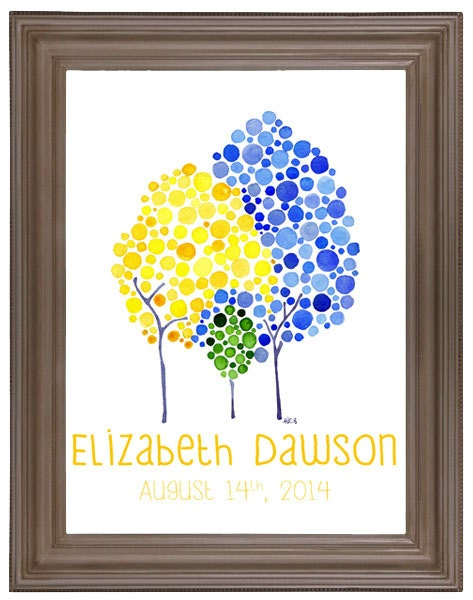 Customized Seedling Baby Name Wall Art  Baby Shower Gift Watercolour Print Nursery Art Newborn New Baby Announcement