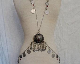 Bast Body Drape Chain with Kuchi Pendants and Hearts # 5