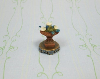 Dollhouse Miniature Stone Planter Figurine with Blue
