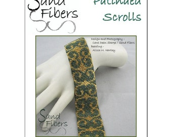 Peyote Pattern - Patinaed Scrolls Peyote Cuff / Bracelet  - A Sand Fibers For Personal/Commercial Use PDF Pattern