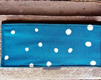 SALE! Blue Polka Dot Fabric and Black Vinyl Wallet with Zipper