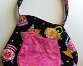 Cute Teapots on Black Purse Handbag with pocket in pink and magnetic clasp