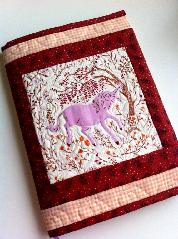 Quilted Fabric Book Cover : Quilted journal cover heather ross purple unicorn fabric