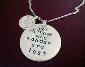 Not All Those Who Wander Are Lost Compass Necklace Travel Jewelry  Date Disk Birthstone Graduation Gift Christmas Aspiration