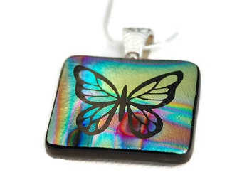 Etched Butterfly Dichroic Pendant, Fused Glass Pendant, Dichroic Glass, Etched Butterfly