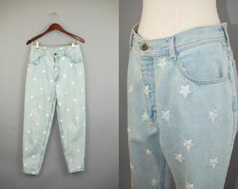 Vtg 80s star embroidered acid washed high waist jeans sz 29
