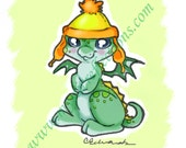 Cunning Hat Dragon Doodle Art Print